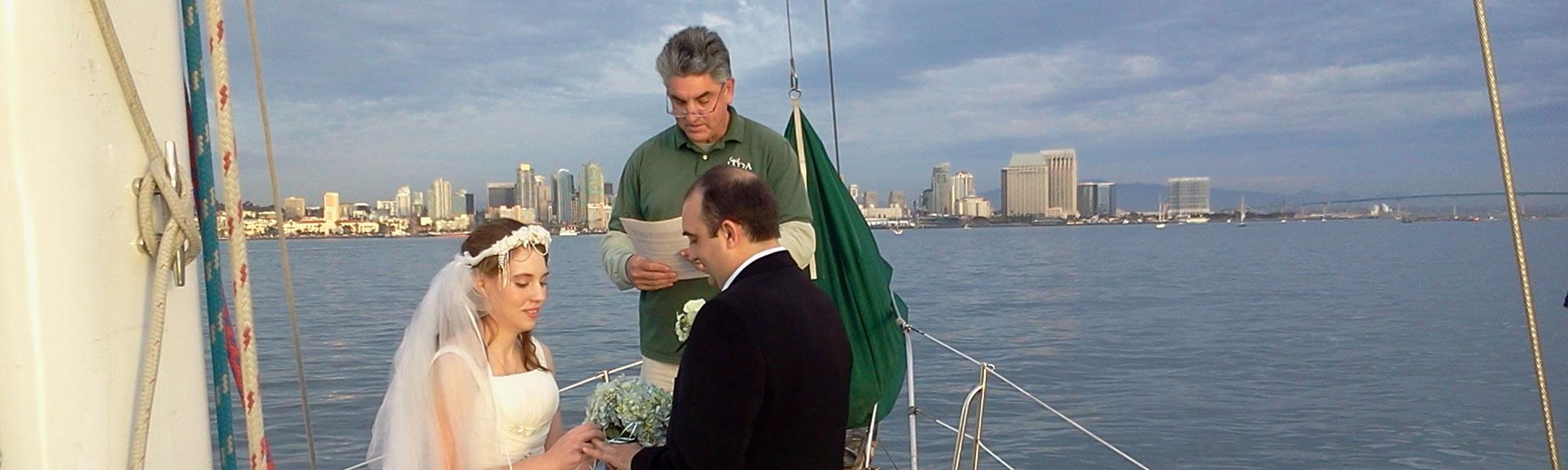 weddings at sea in san diego aboard JADA - classic wooden sailboat