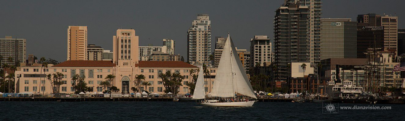 JADA full sails downtown San Diego in front of the San Diego County Board